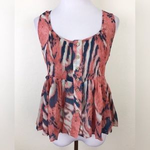 BB Dakota Sheer Button Front Blouse Tank Top